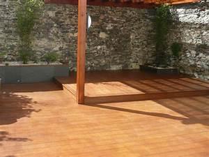 amenagement terrasse bois trendy amnagement duun jardin With good amenagement petit jardin avec terrasse et piscine 12 pose terrasse bois sur pilotis dans les landes terrasse