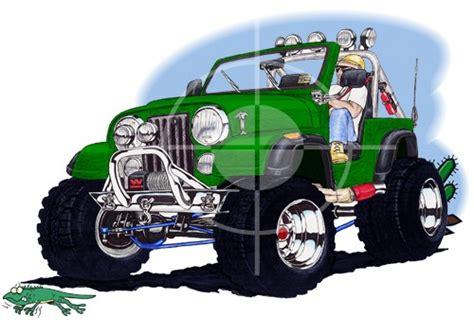 Jeep Cj Wrangler Off Road Cartoon Tshirt #4900cj
