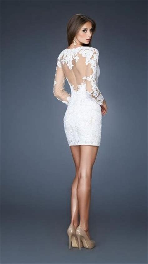 short white lace long sleeve cocktail party dresses formal
