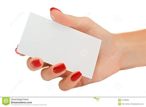 Nice Female Hand Holding A Blank Business Card Stock Photo