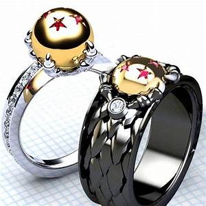 these unique dragon ball rings each contain diamond cut With dragon ball wedding ring