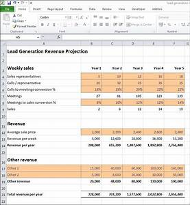 Lead generation revenue projection plan projections for Lead generation plan template