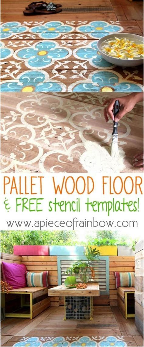 painted pallet floor  printable stencil home  garden