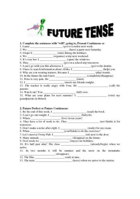 worksheet on simple future tense simple future tense worksheet new calendar template site