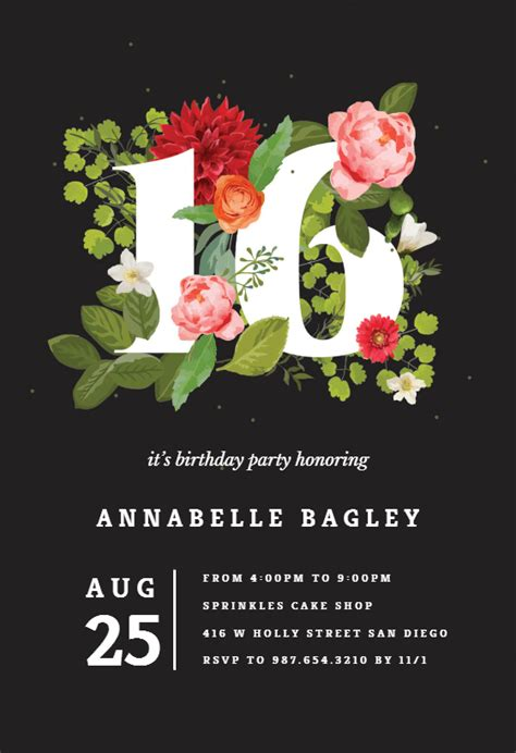 floral sixteen sweet  invitation template