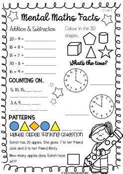 Free printable worksheets on ascending and descending order for grade 1. Mental Maths Worksheet Grade 1 by Miss Kennedy's Classroom ...