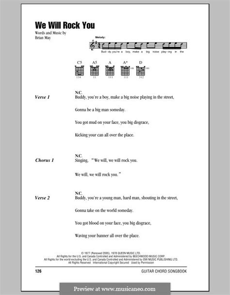 Singin' g d c g em we will, we will, rock you! We Will Rock You (Queen) by B. May - sheet music on MusicaNeo