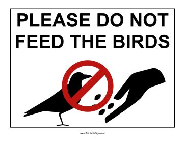 printable do not feed birds sign