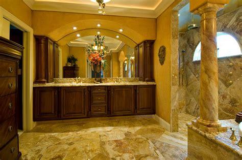 Grand Tuscanstyle Bathroom With Large Wood Vanity Hgtv