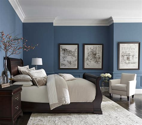 pretty blue color  white crown molding bedrooms