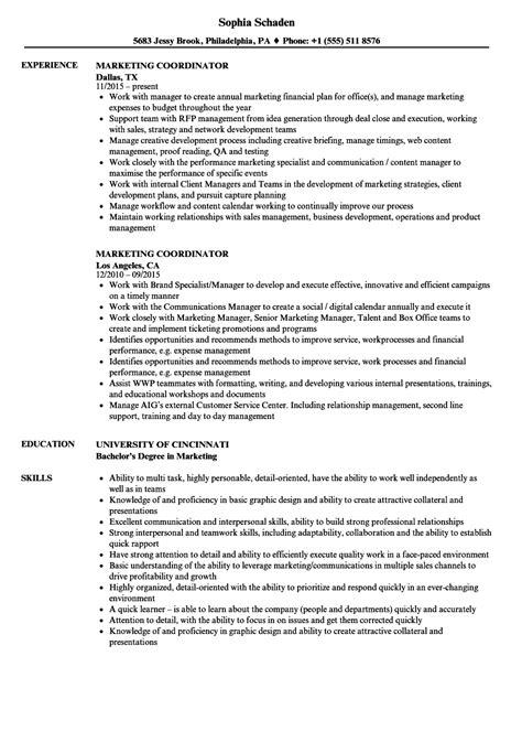 Resume Sample Of Marketing Coordinator - Marketing