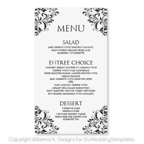 wedding menu card template  instantly
