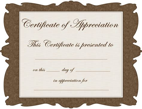 Template For A Certificate Of Appreciation by 8 Best Images Of Free Blank Certificate Appreciation