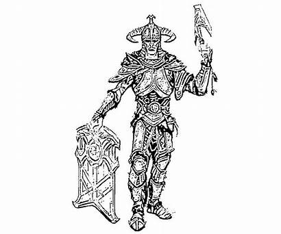 Skyrim Coloring Pages Elder Armor Scrolls Orc