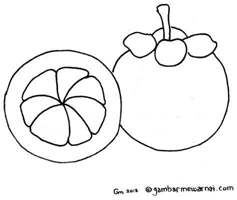 mewarnai gambar buah manggis
