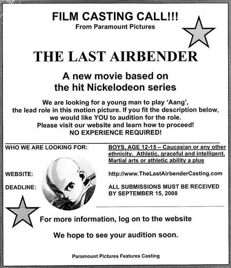 audition flyers samples google search paramount
