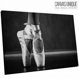 E109 black white ballerina ballet shoes Canvas Wall Art ...