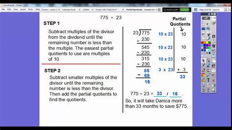 partial quotients lesson  youtube