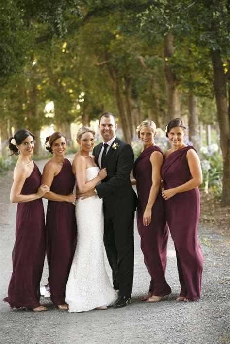 burgundy bridesmaid dresses perfect choice  fall wedding