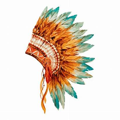 Indian Native Headdress Tattoo American Chief Watercolor