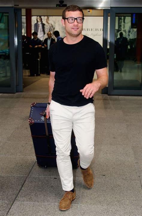 White Jeans Black Shirt Brown Suede Shoes Men
