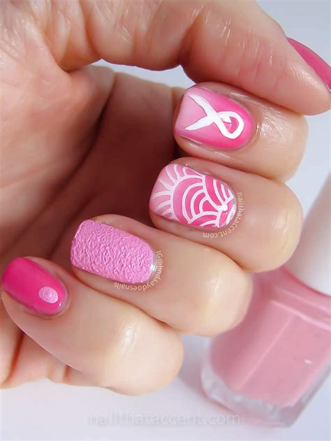 breast cancer nail designs add an accent for breast cancer awareness month with your