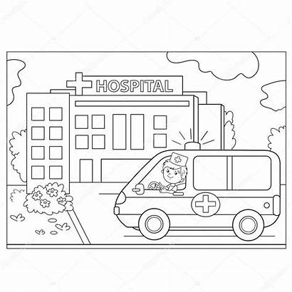 Hospital Coloring Ambulance Outline Vector Near Sign