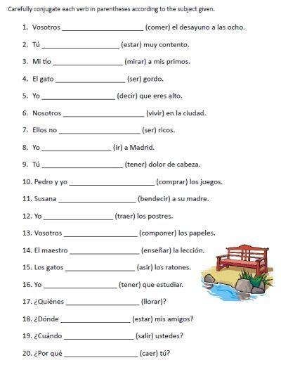 spanish verb conjugation sentences worksheets packet