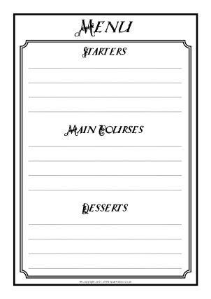 Tudor Menu Template Menu Writing Frames And Printable Page Borders Ks1 Ks2