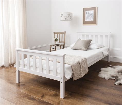 king bed wood frame single bed in white 3ft single bed wooden frame white ebay