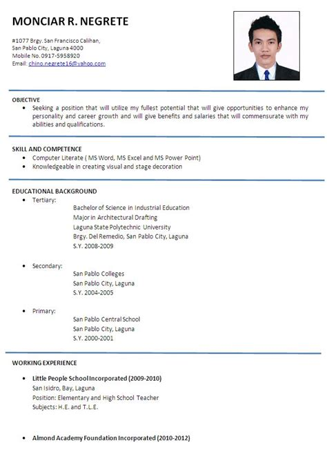 gallery  simple applicant resume sample daucyisz job