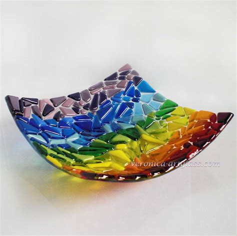 fused glass bowl rainbow fused glass fusing