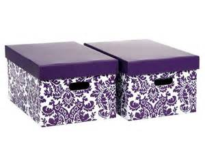 new 2 storage boxes with lids ikea style in damask purple white
