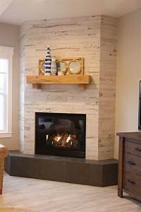 Wood, Look, Ceramic, Tile, Corner, Fireplace