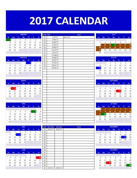 2017 Calendar Template 2017 And 2018 Calendars Excel Templates