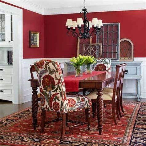 dramatic red dining room walls