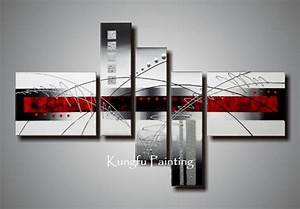 Hand painted modern red black and white abstract art