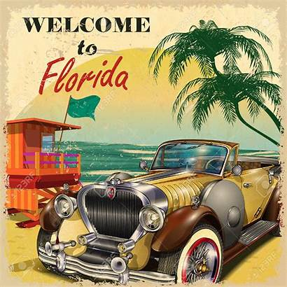 Florida Poster Travel Retro Cars Welcome Posters