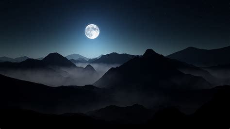 full moon dark mountains wallpapers hd wallpapers id