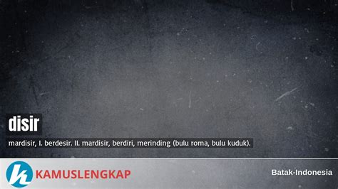 arti kata disir  kamus batak indonesia terjemahan