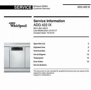 Whirlpool Adg 422 Ix Dishwasher Service Information Manual
