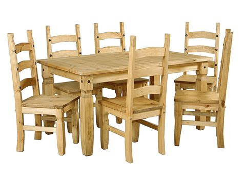large pine wooden dining table and 6 chairs homegenies