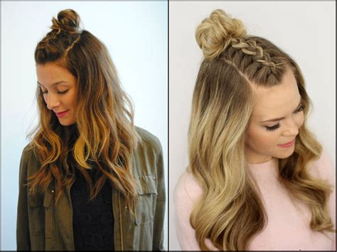 awesome half up half down top knots best for summer