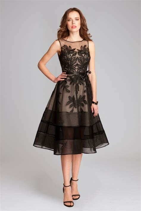 lace dress embroidered tulle midi cocktail dress teri jon