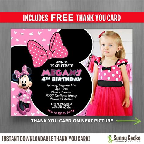 minnie mouse clubhouse   birthday party invitation