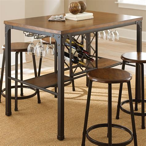 Develop a bistro feel with this black finish pub table with drop leaves and saddle stools. Steve Silver Rebecca Wine Storage Counter Height Dining Table - Handpainted Metal - Bar & Pub ...