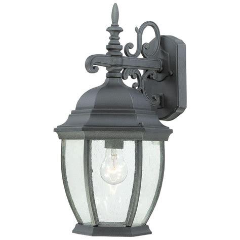 lighting covington 1 light black outdoor wall mount lantern sl92297 the home depot
