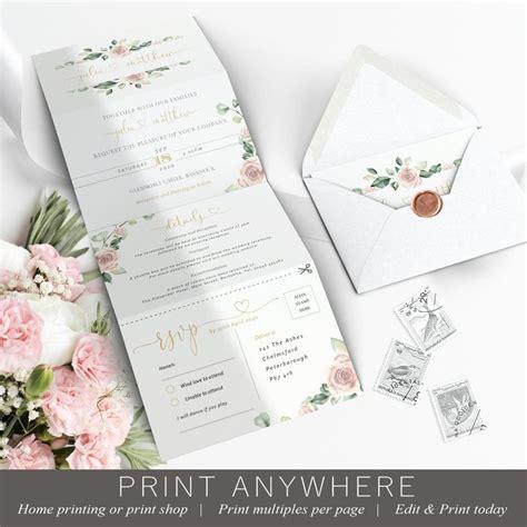 Pink Wedding Invitation Template Concertina Tri Fold