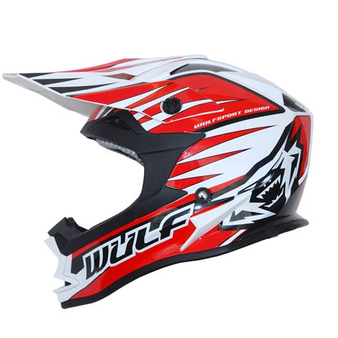 wulf motocross wulfsport advance red white black motocross helmet off