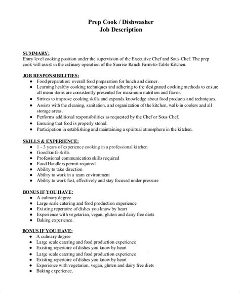Dishwasher Resume Pdf by Executive Chef Description Requirements Mandatory Or Preferred Requirements For The